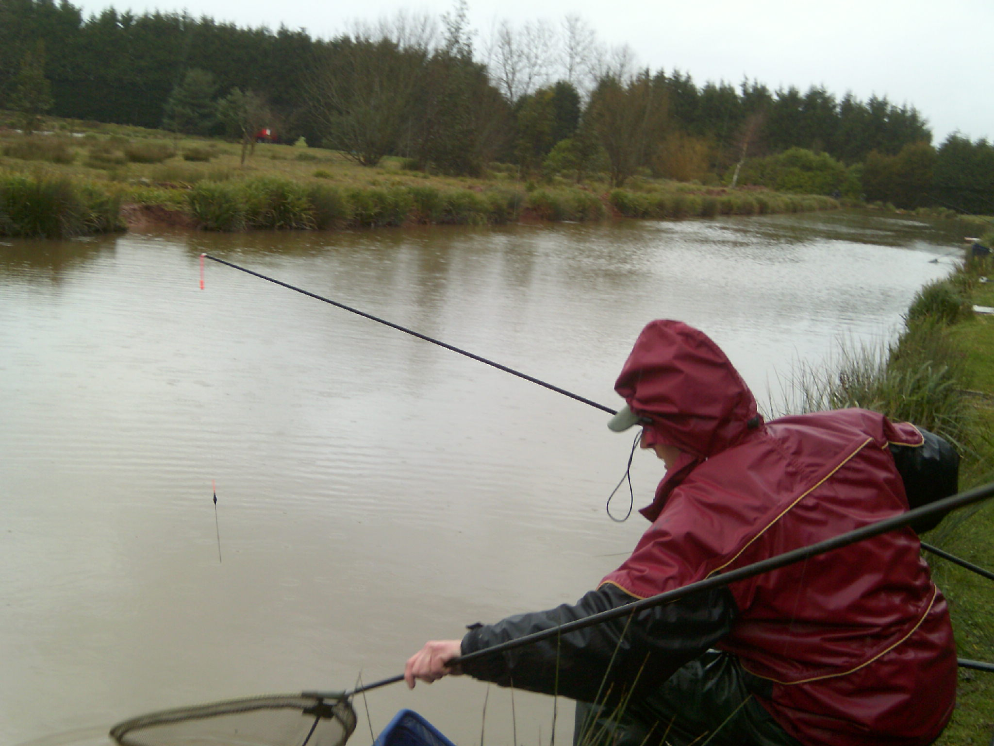 Chris Parker fishing first match after restocking.