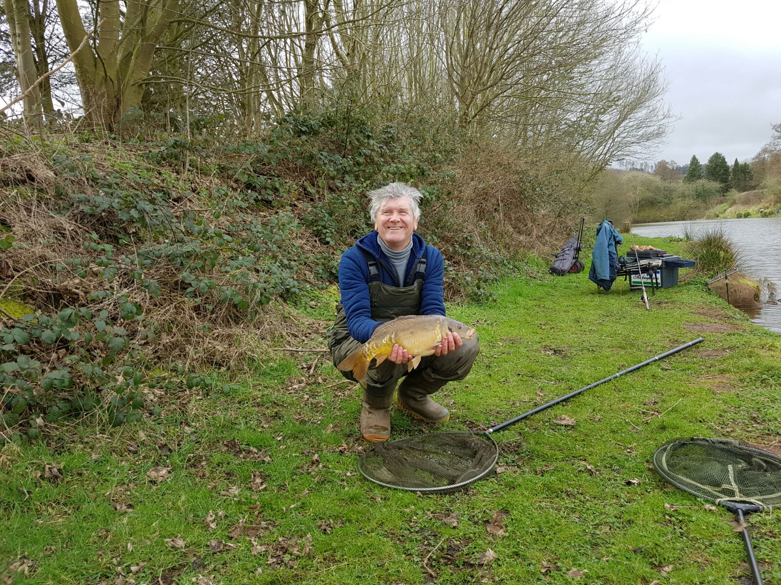 DAVE WITH WAGGLER CAUGHT CARP. 31/03/17