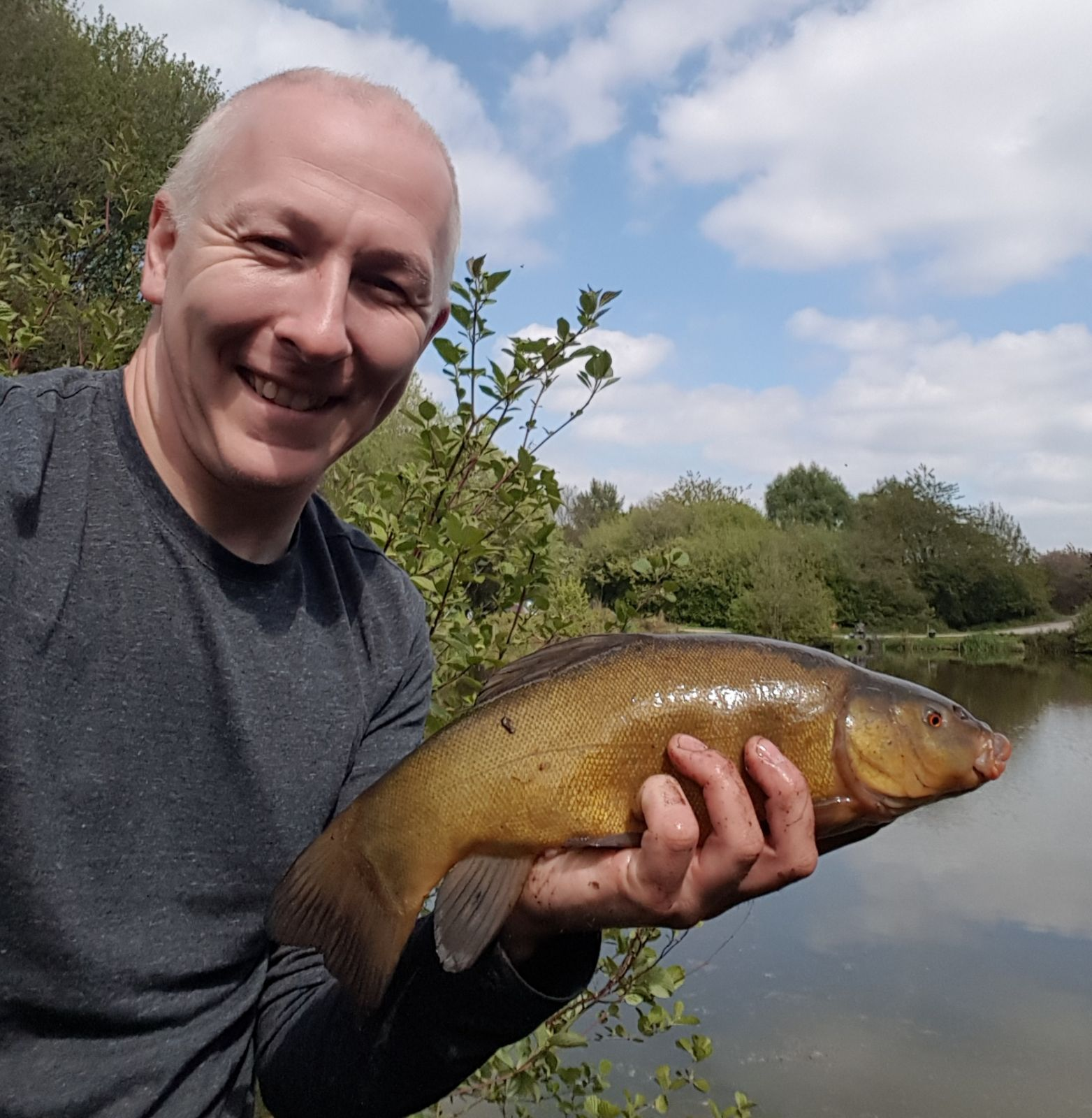 JASON WITH LARGE TENCH CAUGHT ON RED MAGGOT..9/5/17